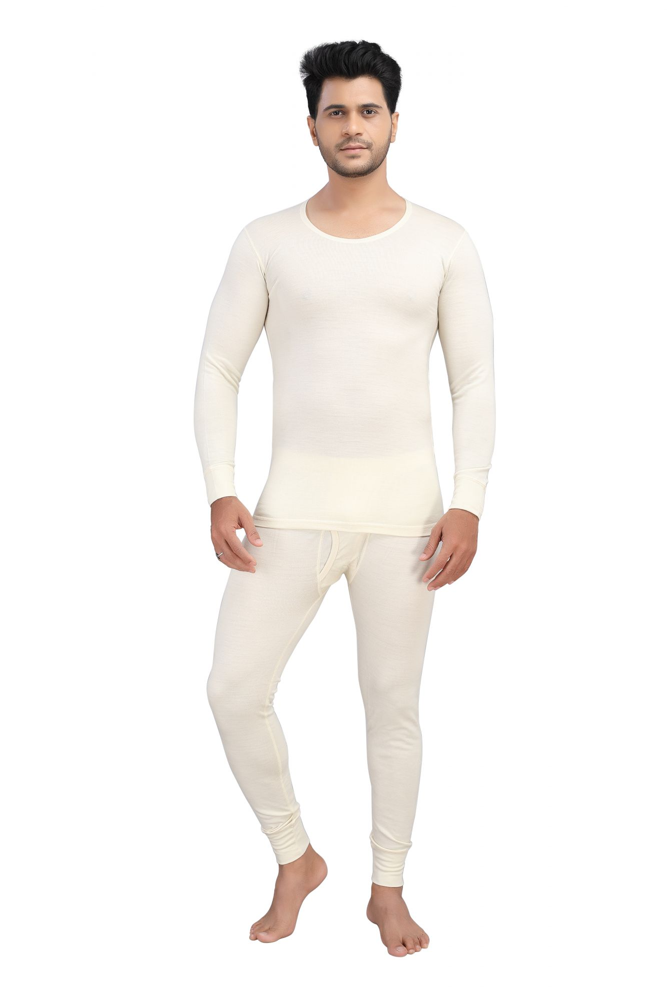Pure Wool Thermal Top Full Sleeves- Cream