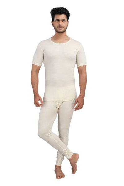 Pure Wool Thermal Top Half Sleeves- Cream