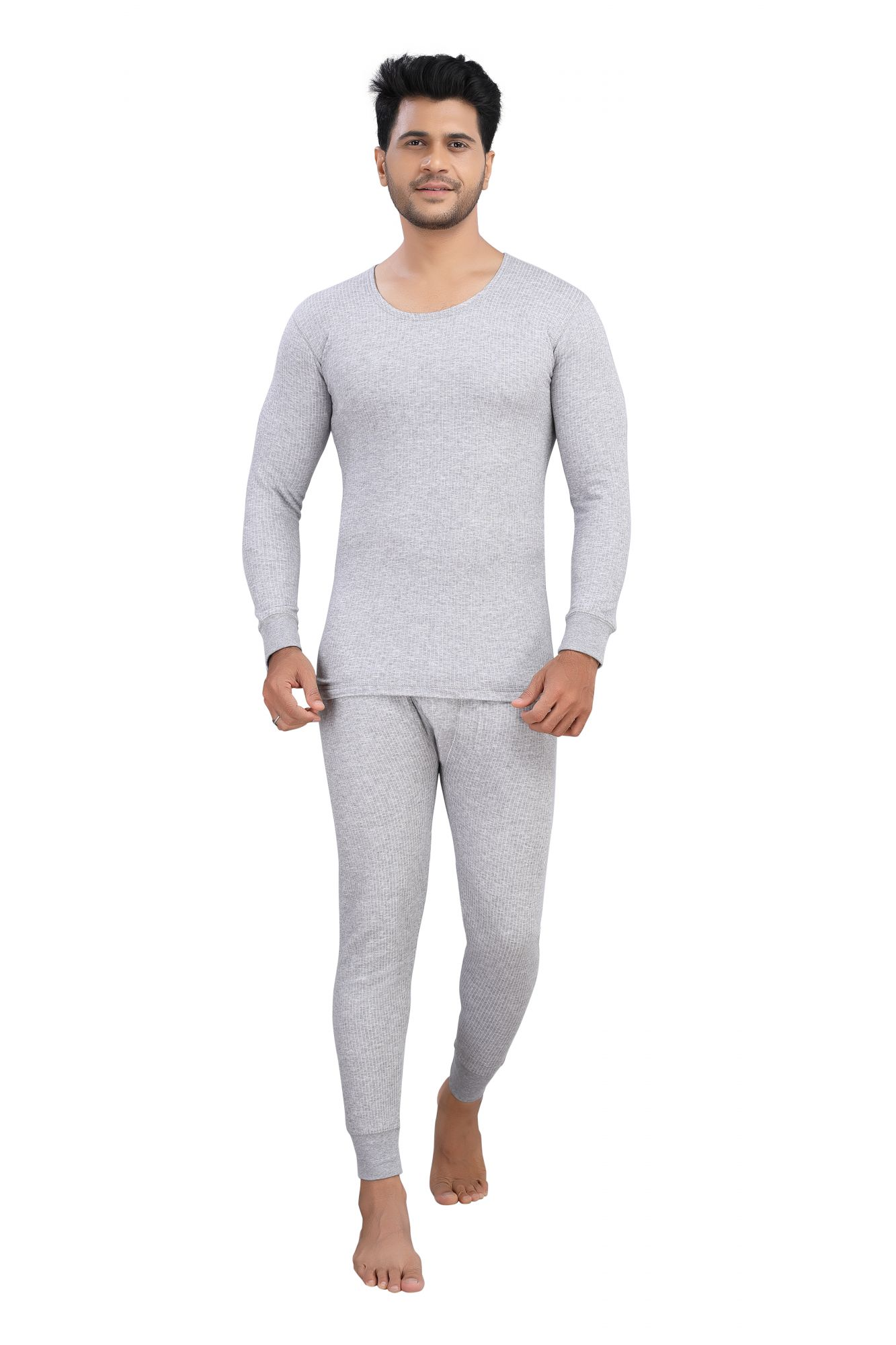 Cotton Quilted Thermal Top Full Sleeves-  Grey