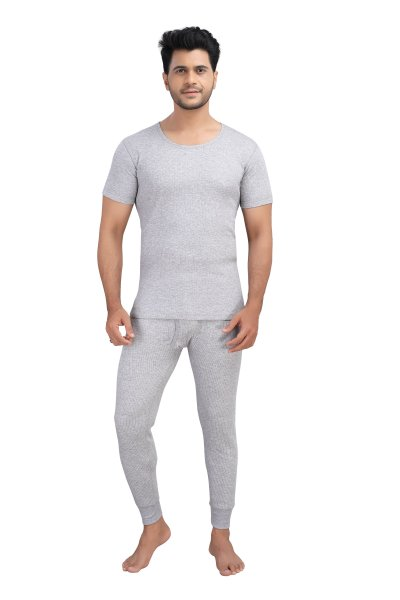 Cotton Quilted Thermal Top Half Sleeves- Grey
