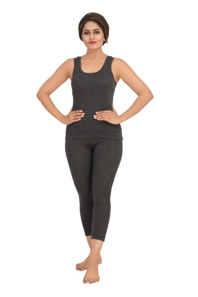 Pure Wool Sleeveless Thermal Top- Dark Grey