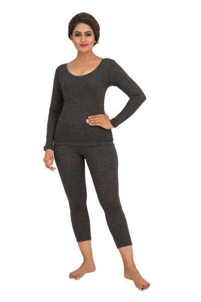 Pure Wool Full Sleeves Thermal Top- Dark Grey