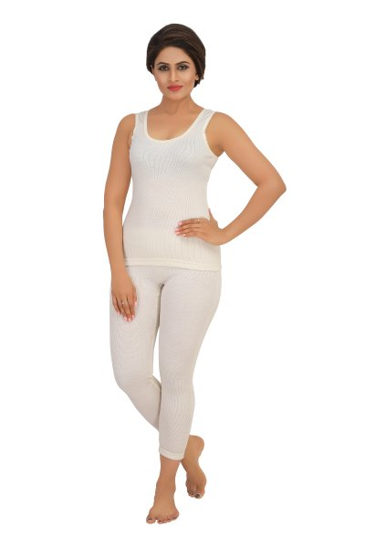 Pure Wool Sleeveless Thermal Top- Cream