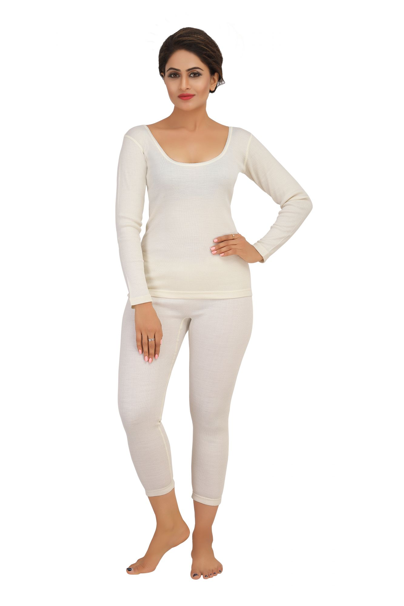 Purewool Full Sleeves Thermal Top- Cream