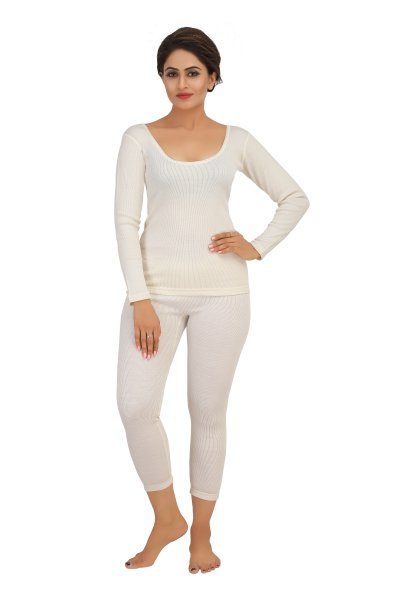 Pure Wool Full Sleeves Thermal Top- Cream