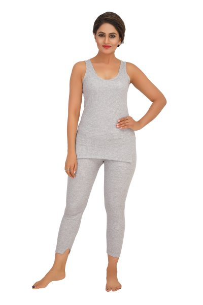 Cotton Quilted Thermal Top Sleeveless- Light Grey