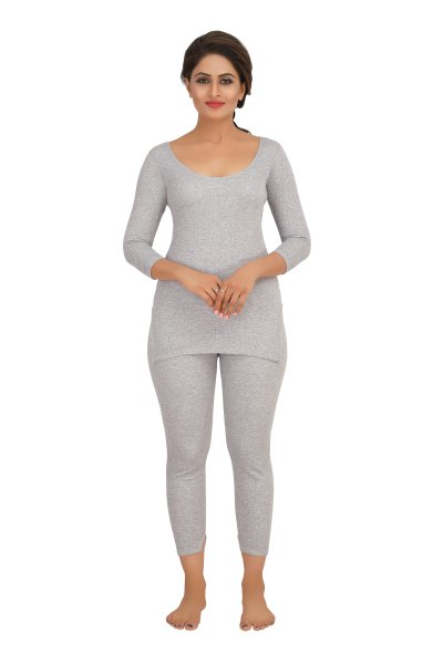 Cotton Quilted Thermal Top Full Sleeves- Light Grey
