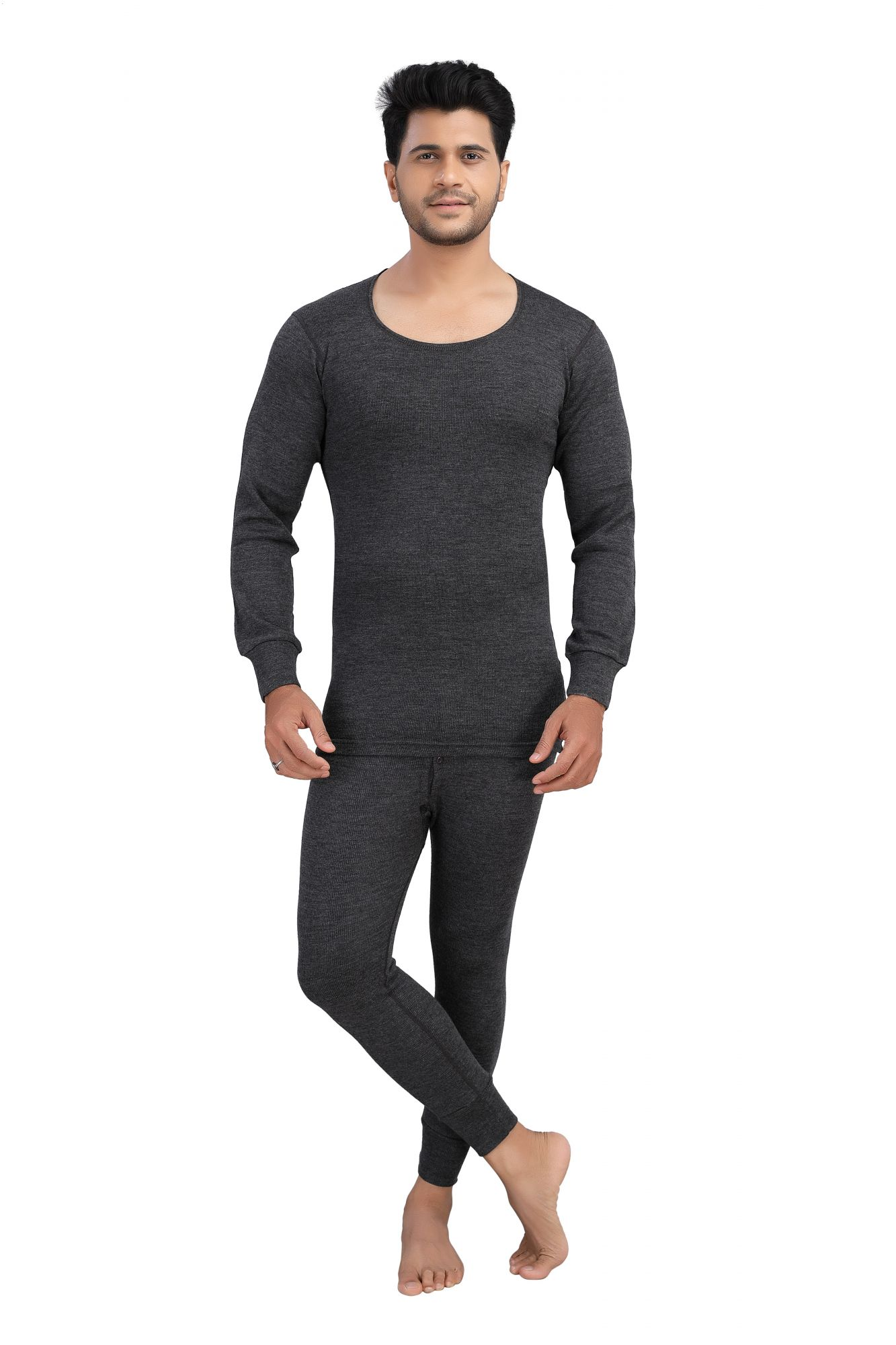 Pure Wool Thermal Top Full Sleeves- Dark Grey